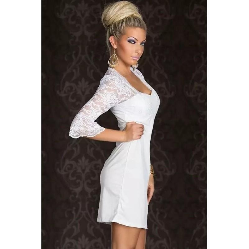 la robe de c r monie blanche manches 3 4 sur bustiers et corsets. Black Bedroom Furniture Sets. Home Design Ideas