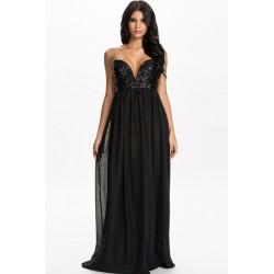 La robe de soirée noire sequins et voile