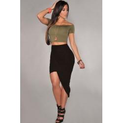 La jupe drapée asymétrique noire ou rose
