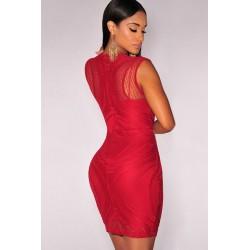 La robe bodycon illusion nude, rouge ou bleue