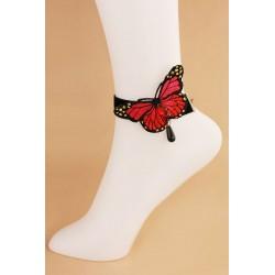 Le bracelet de cheville papillon bleu ou rouge