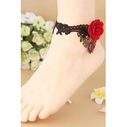 Le bracelet de cheville gothique lolita noir et rouge