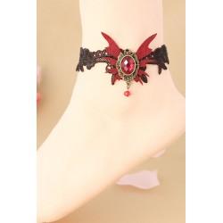 Le bracelet de cheville gothique chic noir et rouge