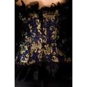 Le corset victorien bleu noir et or