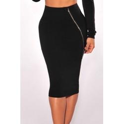 La jupe crayon zippée noire