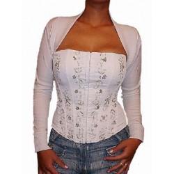 Le corset blanc broderies et perles argent