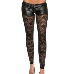 Le legging noir dentelle et simili cuir zip devant