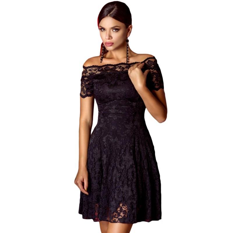 Robe noire dentelle noire