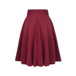 La jupe mi-longue taille haute bordeaux