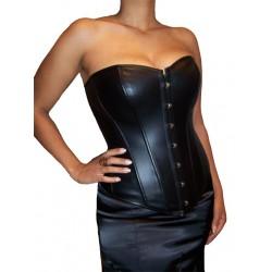 Le corset fetish imitation cuir noir