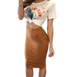 La jupe suédine style corset