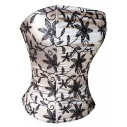 Le corset de soirée noir et argent