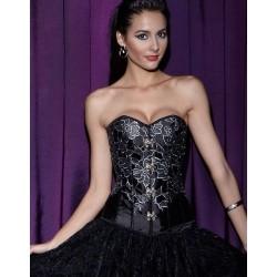 Le corset de soirée noir brodé argent