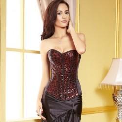 Le corset de soirée à sequins noirs et rouges
