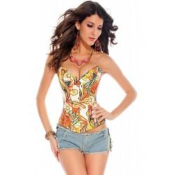 Le corset en jean motifs fantaisie