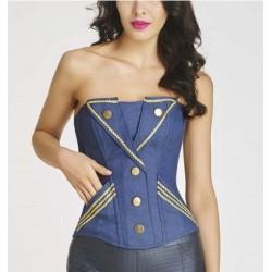Le corset navy bleu jean et or