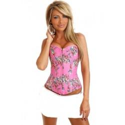Le corset vintage rose à fleurs