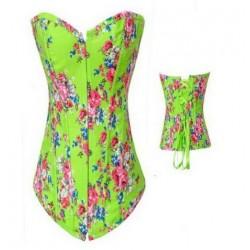 Le corset vintage vert à fleurs