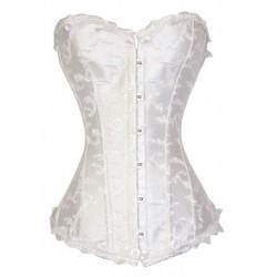 Le corset brodé blanc glacé