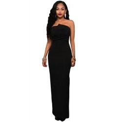La robe bustier noire décolleté asymétrique