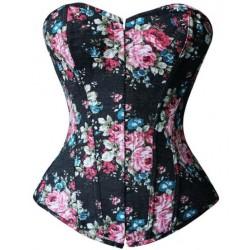 Le corset jean noir à fleurs