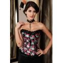 Le corset steampunk roses et têtes de morts