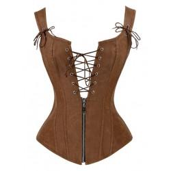 Le débardeur corset cuir vieilli
