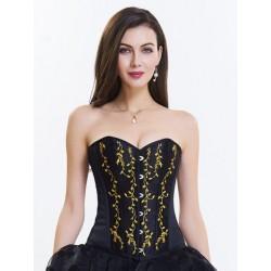 Le corset en satin noir broderies dorées