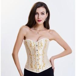 Le corset en satin beige brodé