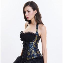 Le corset style dos nu victorien bleu noir et or