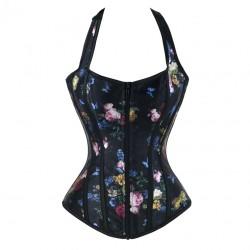 Dos nu style corset en satin noir fleurs et papillons