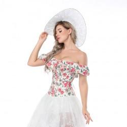Le corset vintage été imprimé fleurs