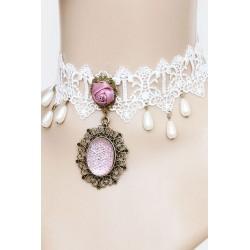 Le ras de cou vintage blanc petits diamants roses