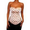 Le corset satiné crème motifs fleurs