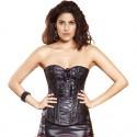 Le corset simili cuir à rubans noir