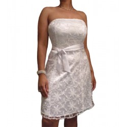 La robe de cérémonie satin et dentelle blanche