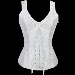 Le top débardeur blanc vintage style corset