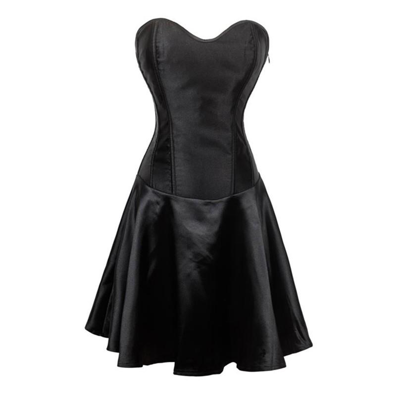 la robe corset en satin noire sur bustiers et corsets. Black Bedroom Furniture Sets. Home Design Ideas