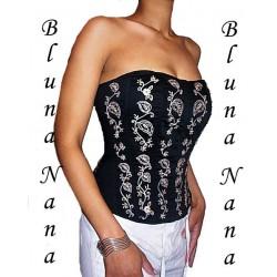 Le corset en coton noir broderies et perles en bois